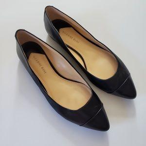 Gianni Bini Black Leather Pointed Toe Flats